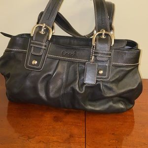 Coach BLACK Leather SOHO Top Zip Satchel Tote Bag